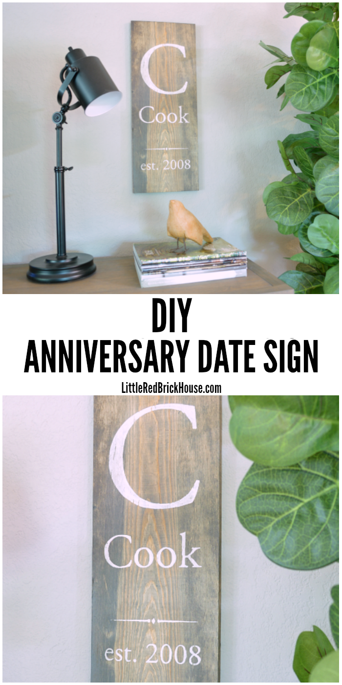 DIY Anniversary Date Sign | LITTLE RED BRICK HOUSE