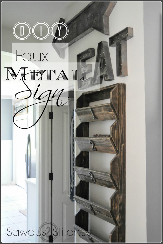 Faux Metal Sign- Sawdust to Stitches