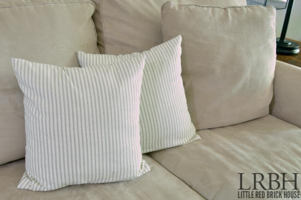 Grey ticking pillows- closeup WM