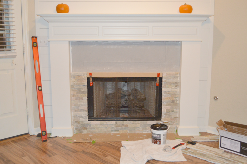 How To Add Stone Veneer To A Fireplace   Little Red Brick House